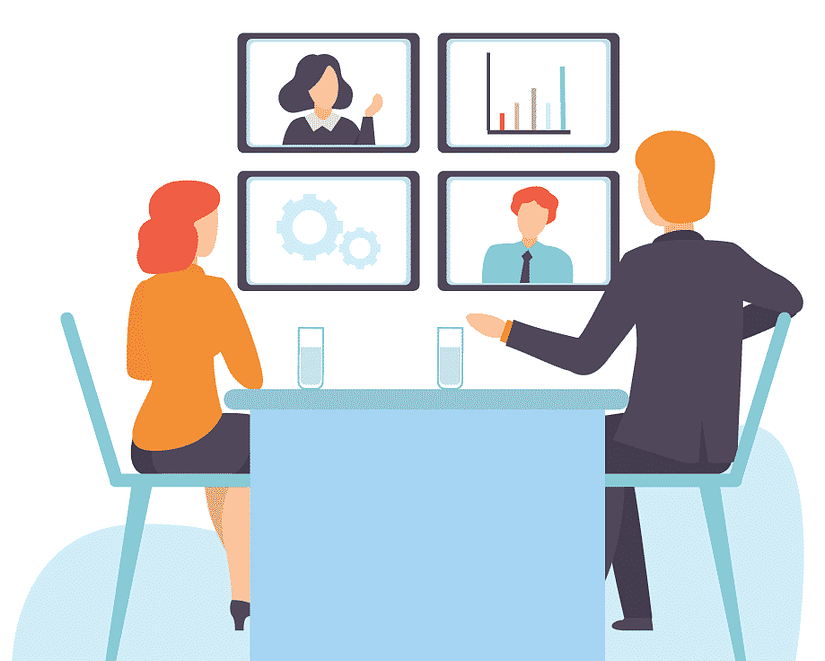 Two People at Desk Looking at Screens and Working Remotely