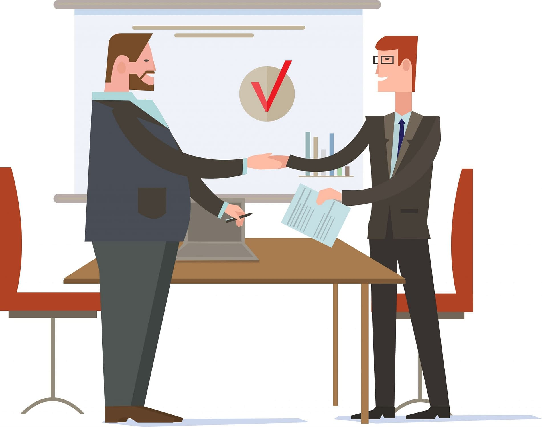 Two Business Owners Signing a Deal