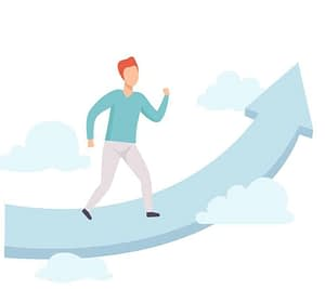 Man Walking on Cloud Towards Success