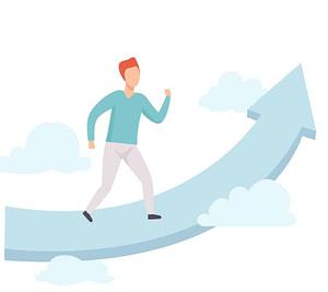 Man Walking Upwards on Arrow Towards Clouds and Success