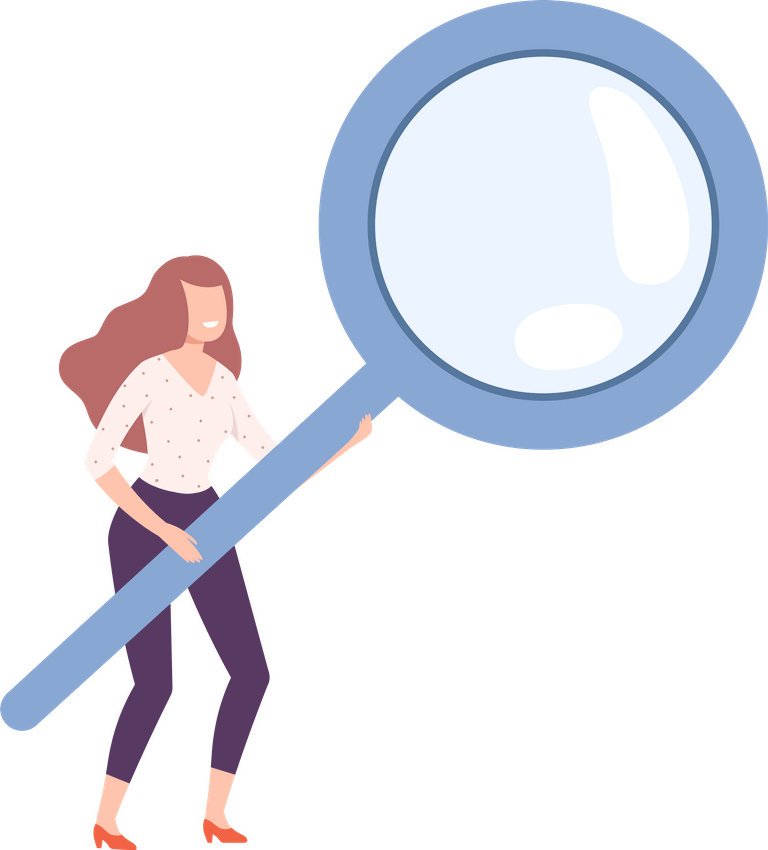 Woman Holding Giant Magnifying Glass